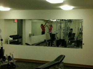 Large Mirror Installed At Workout Gym