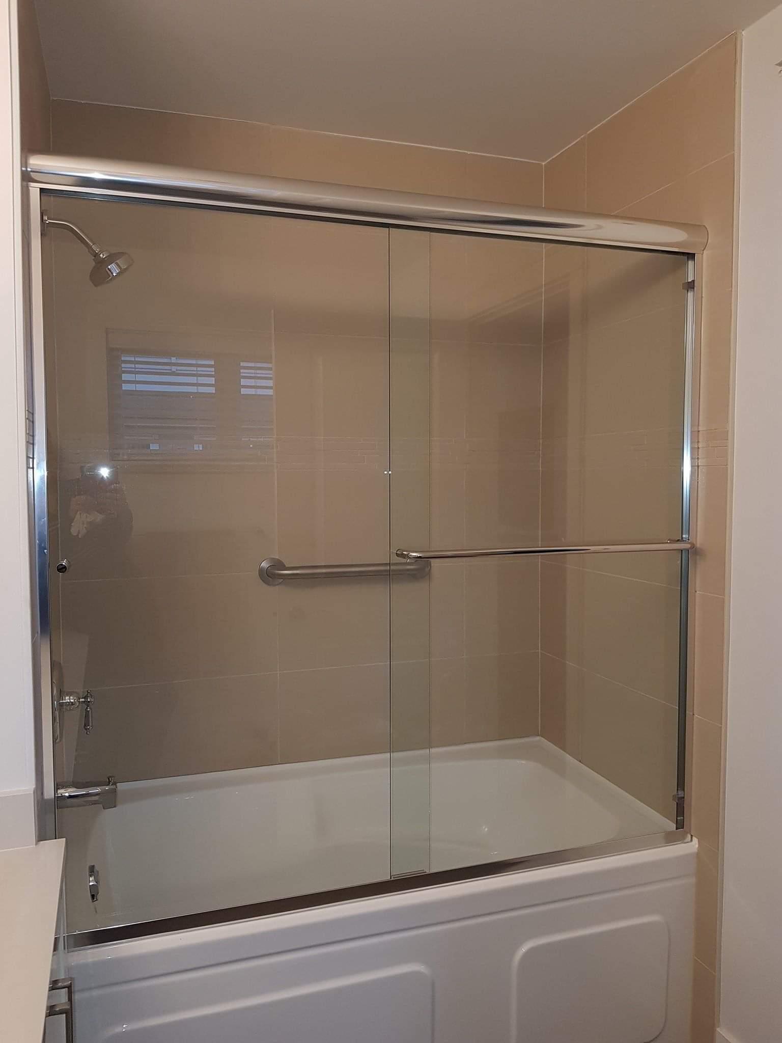 sliding glass shower tub door